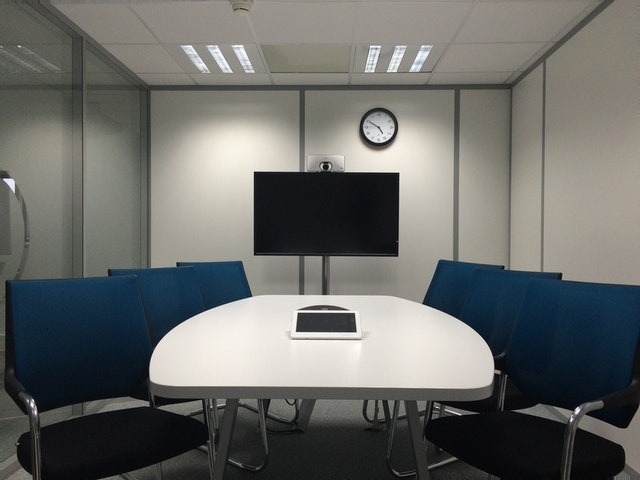 well-lighted meeting room